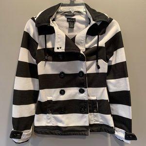 Wet Seal Black/White Stripe Hooded Pea Coat/Jacket